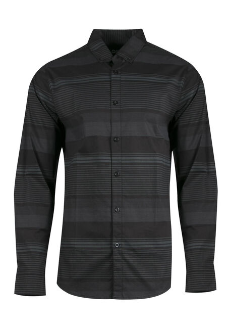 Men's Comfort Stretch Stripe Shirt, BLACK, hi-res