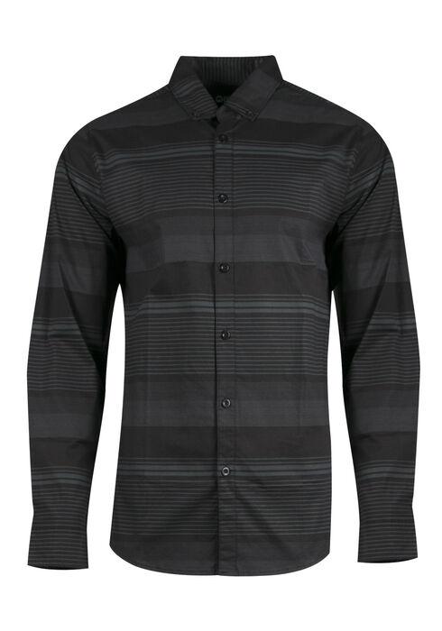 Men's Comfort Stretch Stripe Shirt, BLACK, hi-res