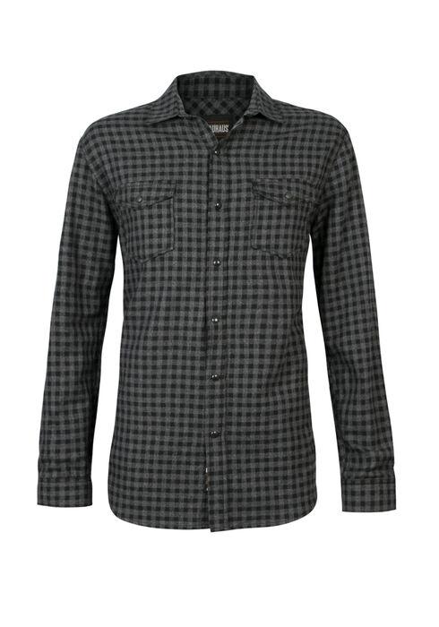 Men's Gingham Flannel Shirt, BLACK, hi-res