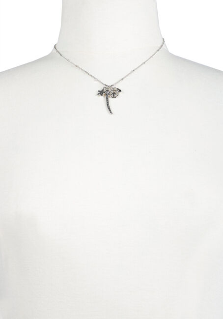 Ladies' Charm Necklace, RHODIUM, hi-res