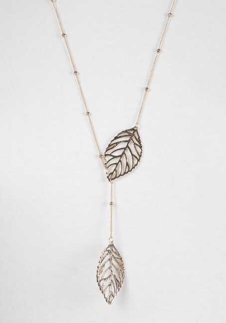 Ladies' Linked Leaf Necklace, GOLD, hi-res