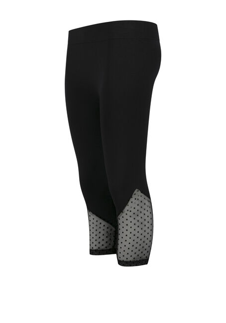 Ladies' Swiss Dot Capri Legging, BLACK, hi-res