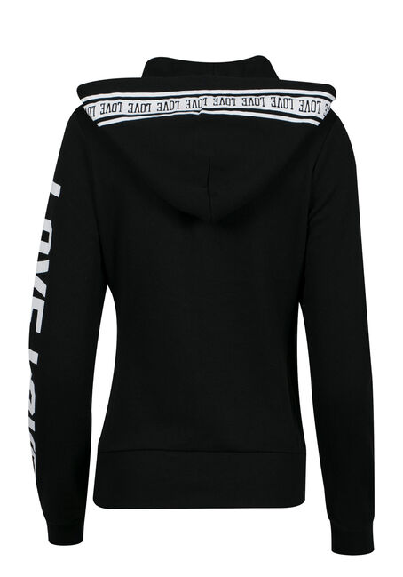 Ladies' Love Zip Up Hoodie, BLACK, hi-res