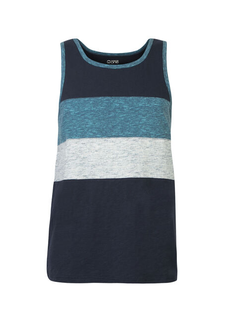 Men's Colour Block Tank, NAVY, hi-res