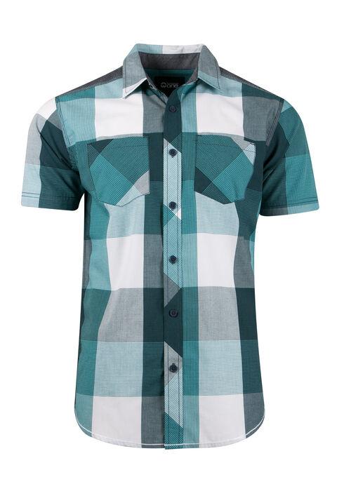 Men's Plaid Shirt, AQUA, hi-res