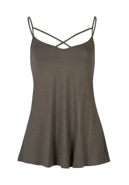 Ladies' Cage Front Strappy Tank, MOSS, hi-res