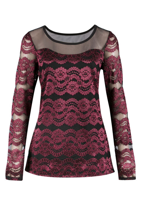 Ladies' Lace Mesh Top, PORT/BLACK, hi-res