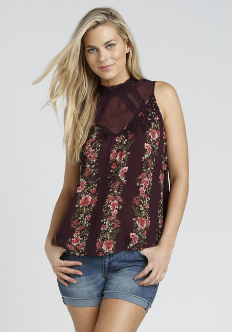 Ladies' Floral Lace Tank, BURGUNDY, hi-res