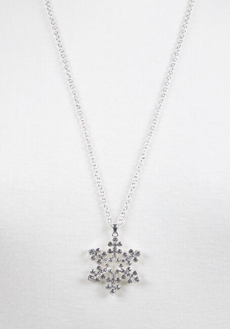 Ladies' Snowflake Necklace, RHODIUM, hi-res