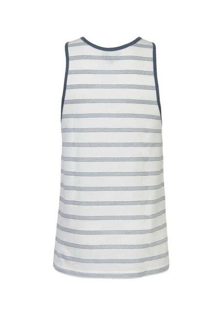 Men's Stripe Tank, WHITE, hi-res