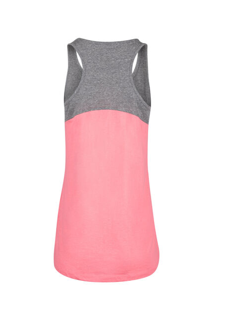 Ladies' Colour Block Tank, GREY/HOT PINK, hi-res