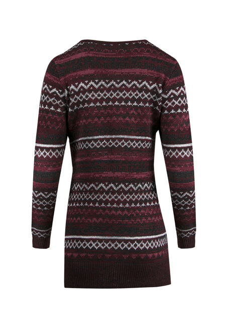 Ladies' Lurex Nordic Sweater, WINE/ ROSE, hi-res
