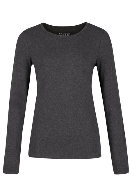 Ladies' Crew Neck Tee, CHARCOAL, hi-res