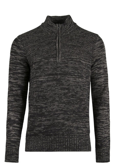 Men's Mock Neck Sweater, CHARCOAL, hi-res