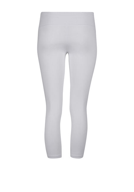 Ladies' Wide Waist Capri Legging, WHITE, hi-res