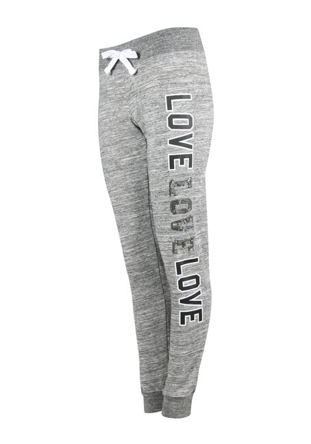 Ladies' Sequin Love Jogger, CHARCOAL, hi-res