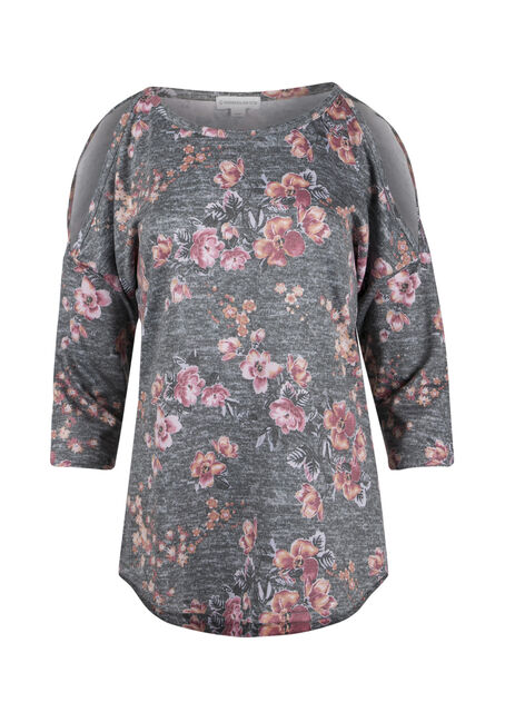 Ladies' Floral Print Cold Shoulder Top
