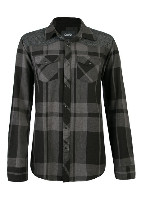 Men's Plaid and Jersey Shirt