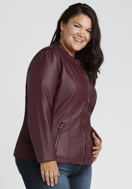 Ladies' Moto Jacket, BURGUNDY, hi-res