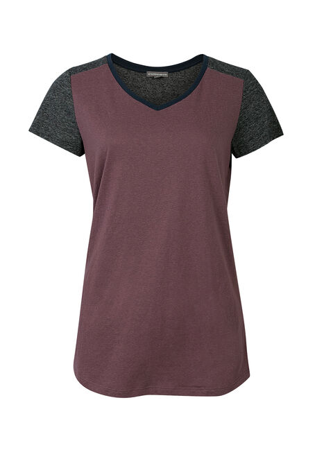 Ladies' Color Block V-Neck Tee, WILD ORCHID, hi-res