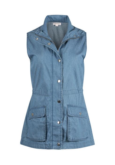 Ladies' Denim Utility Vest, DENIM  BLUE, hi-res