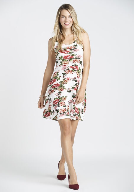 Ladies' Floral Fit & Flare Dress, IVORY, hi-res
