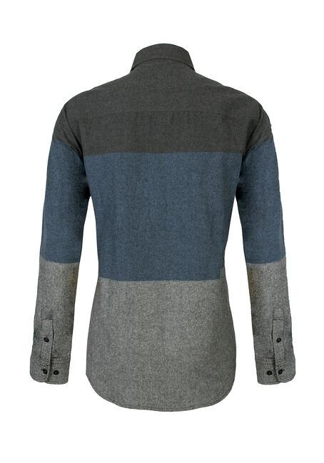Men's Colour Blocked Shirt, CHARCOAL, hi-res