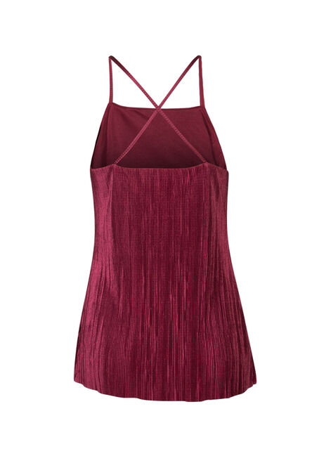 Ladies' Mini Pleat Tank, BURGUNDY, hi-res