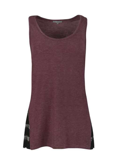 Ladies' Lace Insert Tank, WINE, hi-res