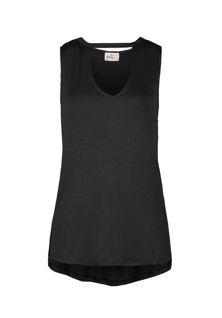 Ladies' Choker Tank, BLACK, hi-res