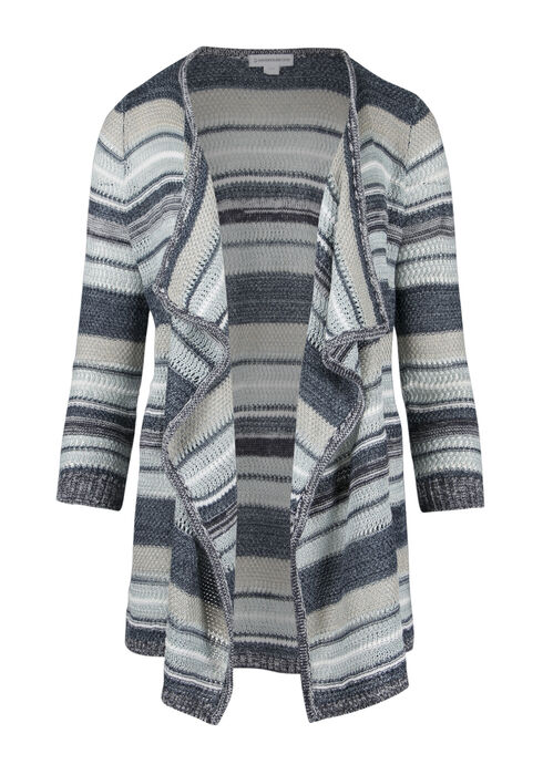 Ladies' Multi Stripe Cardigan, BLUE, hi-res