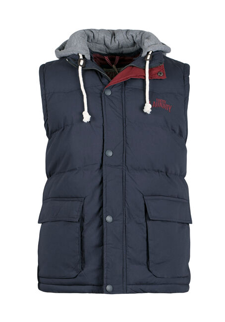 Men's Hooded Puffer Vest, NAVY, hi-res