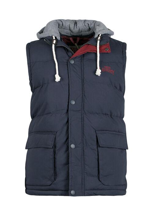 Men's Hooded Puffer Vest, NAVY, hi-res