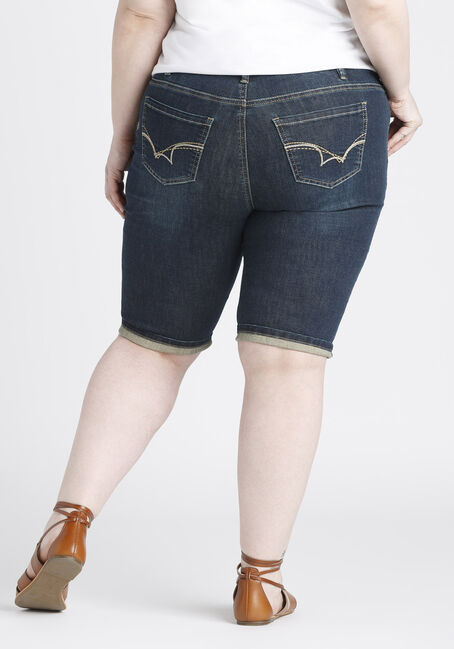 Ladies' Plus Size Slim Bermuda Short, DARK VINTAGE WASH, hi-res