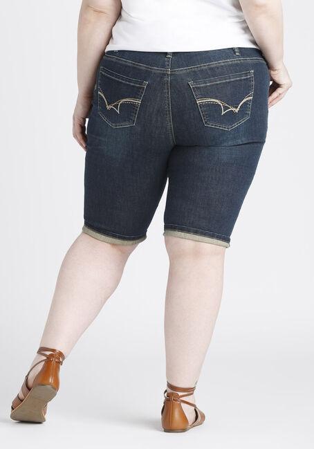 Ladies' Plus Size Slim Bermuda Short, DARK VINTAGE WASH, hi-res