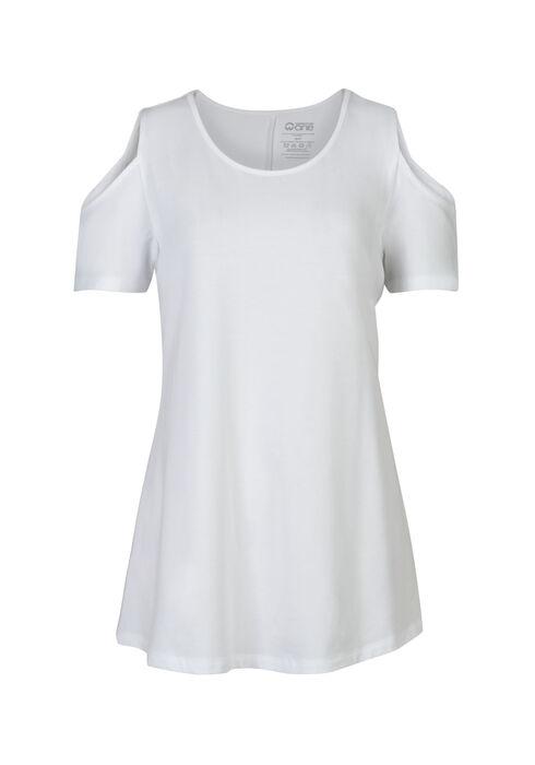 Ladies' Cold Shoulder Tee, WHITE, hi-res