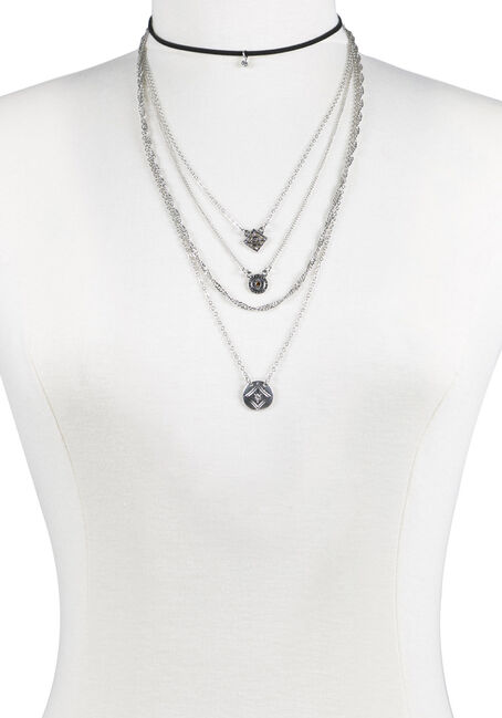 Ladies' 5 Row Layered Necklace, MIXED METALS, hi-res