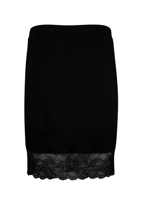 Ladies' Lace Hem Skirt, BLACK, hi-res