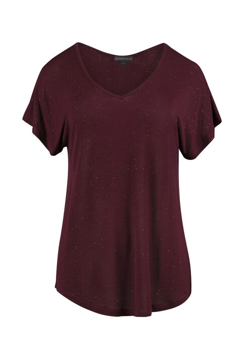 Ladies' Shimmer Tee, WINE, hi-res
