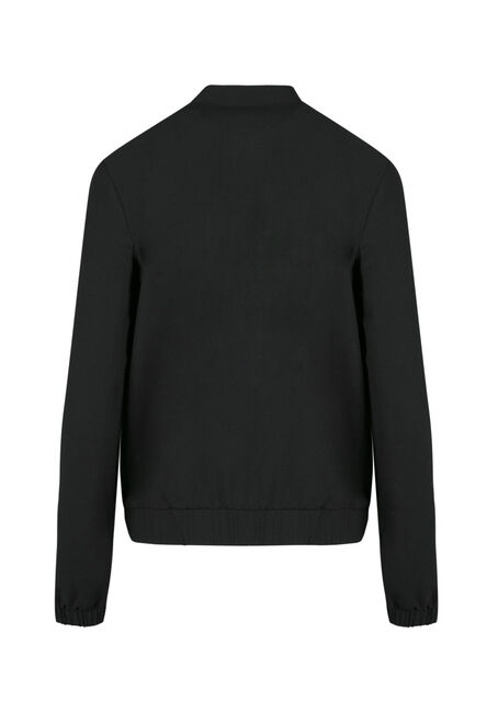 Ladies' Crepe Bomber Jacket, BLACK, hi-res