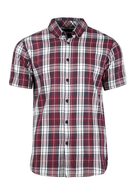 Men's Plaid Shirt, BURGUNDY, hi-res
