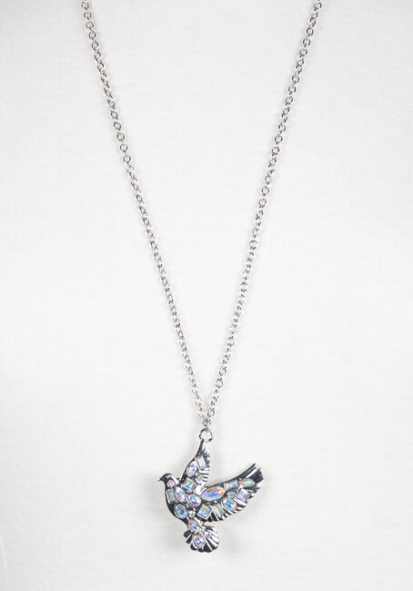 Ladies' Iridescent Dove Necklace, RHODIUM, hi-res