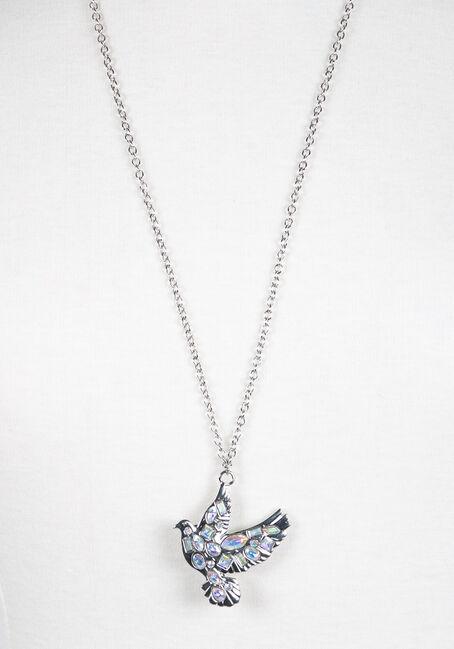 Ladies' Iridescent Dove Necklace, RHODIUM, hi-res
