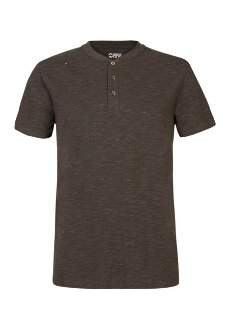 Men's Pique Henley Tee, DARK OLIVE, hi-res