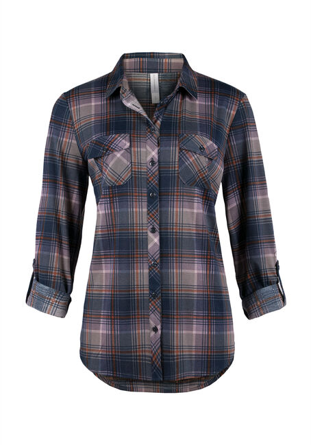 Ladies' Knit Plaid Shirt, DUSTY PURPLE, hi-res