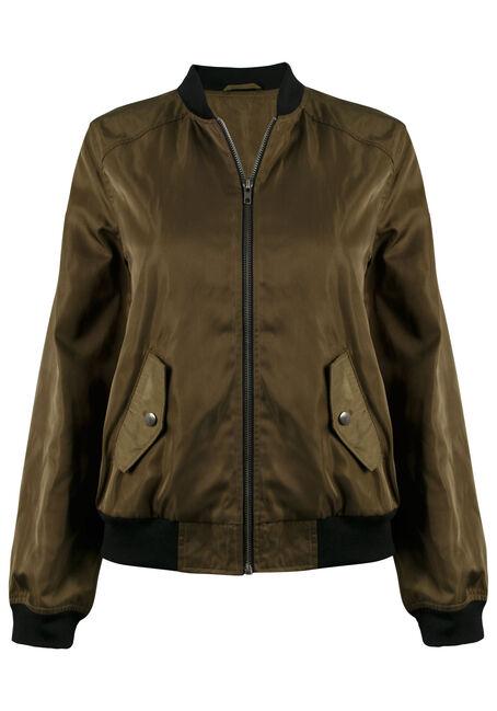 JUSTIFY Bomber Jacket, OLIVE/ BLACK, hi-res