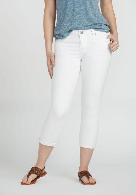 Ladies' Skinny Capri, WHITE, hi-res