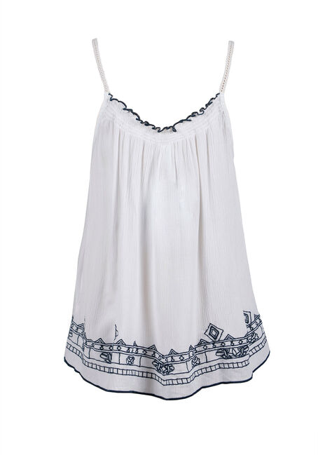 Ladies' Embroidered Strappy Tank, WHITE, hi-res