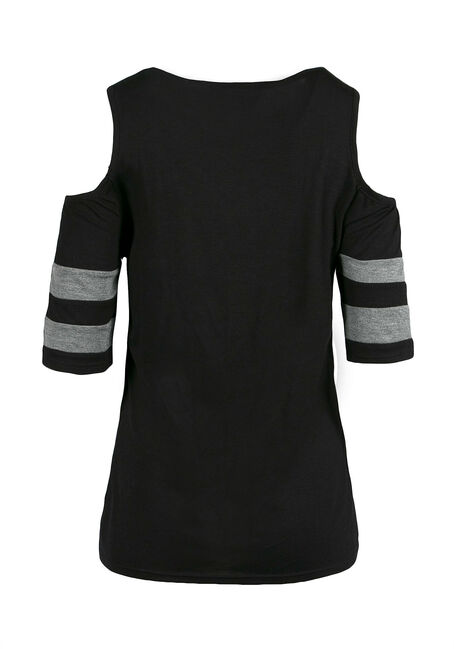 Ladies' Cold Shoulder Football Tee, BLACK, hi-res