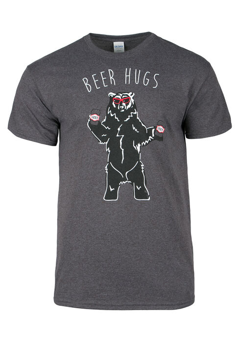 Men's Beer Hugs Tee, HEATHER GREY, hi-res